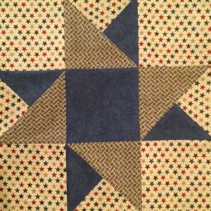 Blue & Beige Double Star Quilt Block