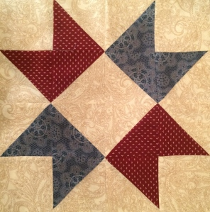 Red & Blue Star Quilt Block Quilt Block