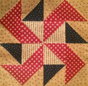 Americana Red Flag Pinwheel Quilt Block
