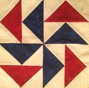 Americana Blue and Red Pinwheel Quilt Block