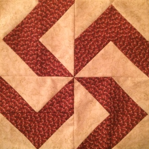 """Good Luck"" Pinwheel Americana Quilt Block"