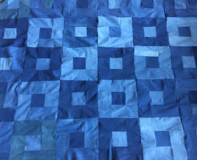 Denim Picnic Quilt Close Up