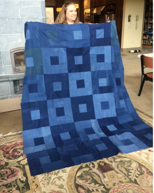 Finished Denim Picnic Quilt