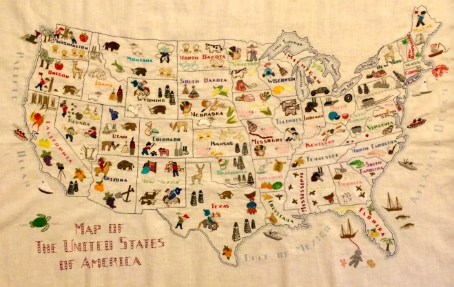 Embroidered U.S. Map by Stashing Sister Kay