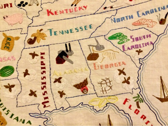 Embroidered U.S. Map by Stashing Sister Kay - Close Up